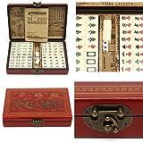 wisedwell 144 Stück Reise Mahjong Brettspiel Tragbare Mahjong Set mit Archaistischen Leder Box und Manuelle In Englisch -