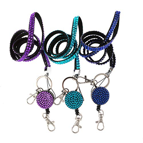 Fashion 3PCS Pack 3 Colors Mixed Bling Crystal Neck Strap Lanyard W/Retractable ID/Name Badge Reel Cute Rhinestone Gift Badge Holder for Gifts(Royal Blue,Purple,Turquoise)