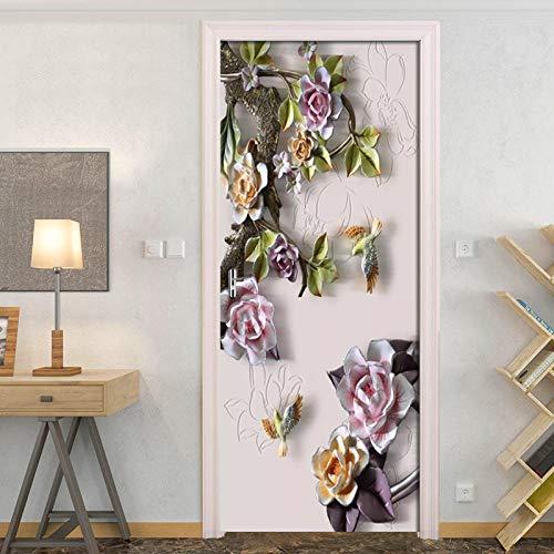 Diopn 3D-deursticker, geperste roze, voor de woonkamer, deur, plakfolie, waterdicht, behang, voor thuis, deur