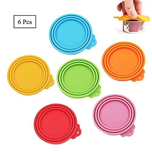 Juego de 6 tapones universales de silicona para latas de comida de mascotas, para perros y gatos, para casi todos los recipientes de comida de comida en 6 colores, aptos para lavavajillas