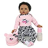 Reborn Baby Dolls 22 Inch Black Girl Dolls Weighted African Realistic Baby Dolls Lifelike Baby Reborn Dolls That Looks Real for Age 3+