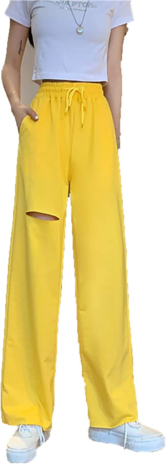 YOCheerful Suede Glossy Pants Womens Fall Winter Sports Leisure High Waist Trousers Loose Wide Leg Pants Drawstring