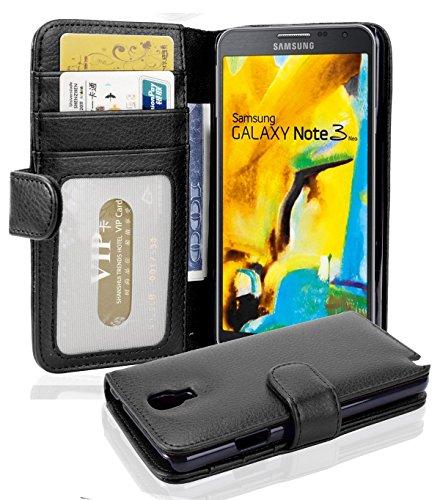 Cadorabo Hülle für Samsung Galaxy Note 3 NEO in Oxid SCHWARZ – Handyhülle mit Magnetverschluss & 3 Kartenfächern – Hülle Cover Schutzhülle Etui Tasche Book Klapp Style