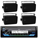 JVC Marine Boat Bluetooth USB AUX SD iPod/iPhone Pandora Receiver SiriusXM Ready 4-  2-Way 3.5' Inch Box Boat Speaker (2 pairs) - Great Outdoor Marine Bike Audio System