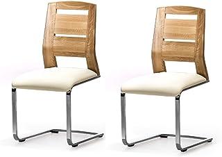 Marque Amazon -Alkove - Hayes - Set de 2 fauteuils en bois massif avec siège tapissé, Chêne sauvage