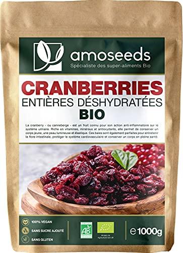 Cranberries Entières Déshydratées Bio 1KG   Sans sucre ajouté, naturellement sucrées au jus de pomme   Qualité Supérieure