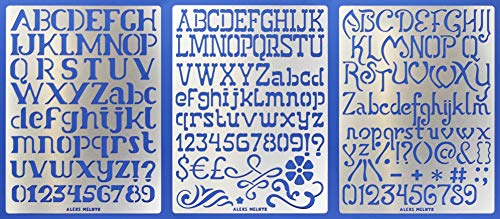Aleks Melnyk #45 Schablone/Metall Stencil Vorlagen for Painting/Buchstaben, Zahlen, Alphabet - 2,5 cm/3 Stück/DIY Kunst Projekte/Stencil für Scrapbooking und Zeichnen/Brandmalerei Schablone/Basteln