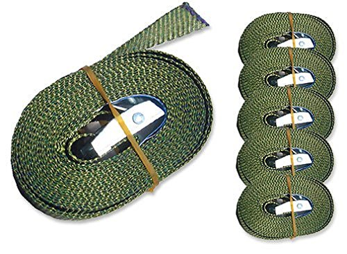iapyx 6 Spanngurte Zurrgurte 250kg 2.5m 4m 5m 6m mit Klemmschloss Schnellspannung (2.5m, Oliv)
