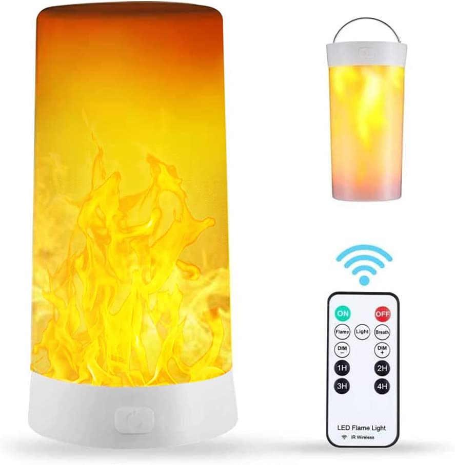Led Flame Light, USB Rechargeable Flicking Flame Candles Fire Lanterns Outdoor Hanging Lamps with Remote and 4 Flame Modes for Home Party Garden Camp Christmas Decoration