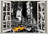qianyuhe Cuadros artísticos de Pared Torre Nueva York Taxi Ventana Arte película impresión Cartel decoración de la Pared del hogar 60x90cm