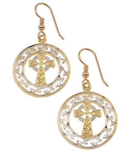 Irish Celtic Cross Earrings, Hand Cut Ireland Celtic Cross Medallion, 1