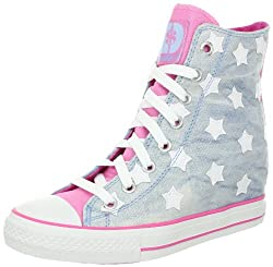 Skechers Women's Gimme Sneaker - light silver blue star shoes with girly pink details