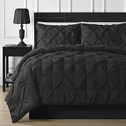 Double Needle Durable Stitching Comfy Bedding 3-piece Pinch Pleat Comforter Set All Season Pintuck Style (Queen, Black)