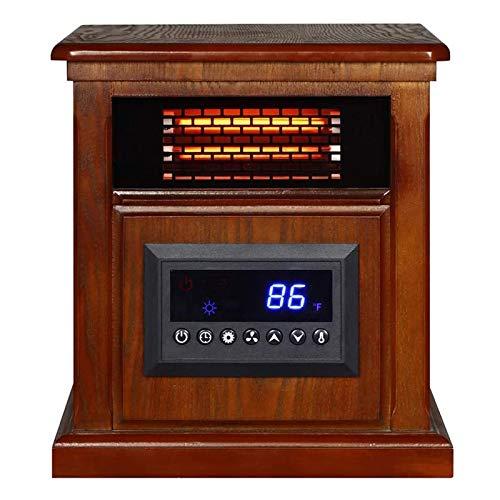 DGYAXIN Estufa de Chimenea eléctrica de Mesa, con Calentador, Llama con Efecto de Combustible de Registro dinámico 3D, Acabado de Madera de secuoya bruñida, Interruptor mecánico