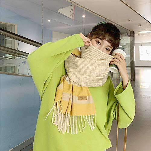 Bufandas Mujer Invierno,Elegante Bufanda De Color Caqui con Borla Suave Y Acogedor Abrigo De Gran Tamaño Mantón Estampado A Cuadros Espesar Manta De Punto Damas Ropa Al Aire