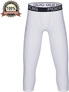 PIQIDIG Youth Boys Compression Pants 3/4 Basketball Tights Sports Capris Leggings