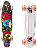 hql skateboard mini cruiser 22con 4 ruote lampeggianti leggere, skateboard cruiser completi, skateboard portatile, per principianti/ragazzi/ragazze/adulti,hip hop music