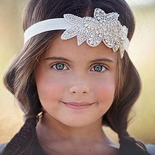 Unicra Elastic Fabric Headbands Baby Rhinestone Headband Silver Bridal Headpiece Crystal Hair Accessories for Flower Girls