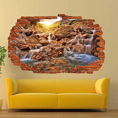 Xihe Sun Waterfall Wall Sticker 3D Art Mural Room Office Shop Decoration/Vinyl Art Mural
