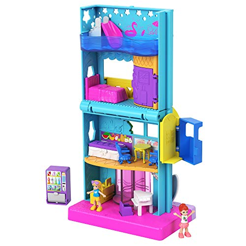 Polly Pocket Pollyville Hotel Pollyville Hotel with 4 Floors of Fun, Micro Polly & Lila Dolls, 1 Sticker Sheet & 5 Micro Accessories; for Ages 4 Years Old & Up