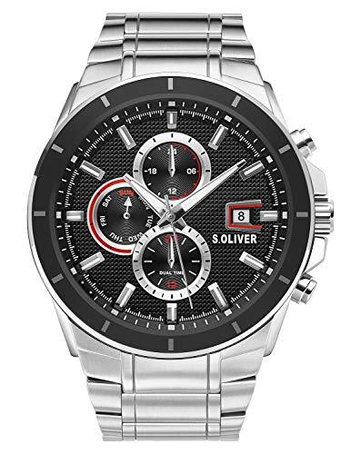 s.Oliver Herren Multi Zifferblatt Quarz Uhr mit Edelstahl Armband SO-3757-MM