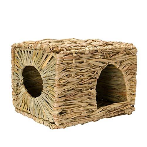 WeiCYN 1pc cómodo Conejo Hierba Tejida Paja Pequeño Pet Hamster Jaula Nest House Natural Chew Toy Plegable Cama (Color : Wood Color)