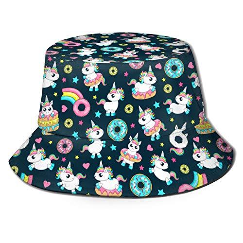 Sombrero Unisexo Bucket Donut Unicornio con Glaseado Blanco y Cola de Arco Iris Rosa Menta Azul y Amarillo Donuts de Limón Donut Comet con Gorra de Pescador con Sombrilla Estampada de Arco Iris