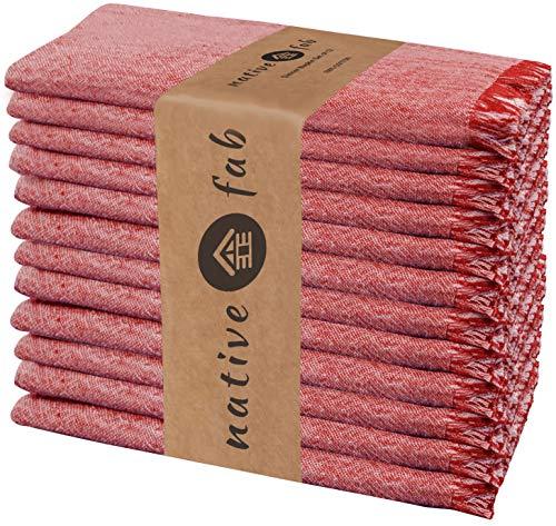 Native Fab 12er-Set Baumwolle Stoffservietten 46x46 cm für Veranstaltungen Hochzeit regelmäßige Heimnutzung, Weich Bequem Maschinenwaschbar Wiederverwendbare Servietten Rot