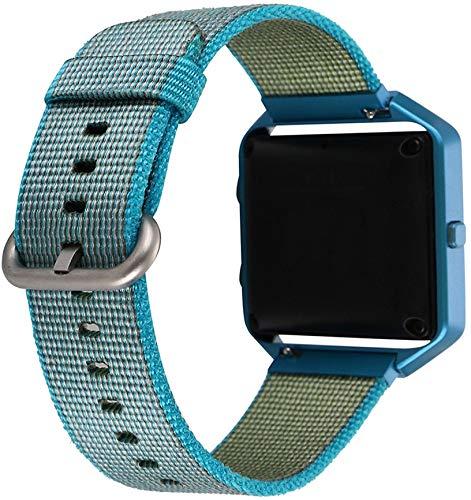 Othor Unisex Nylon Armband Uhrenarmband kompatibel mit Fitbit Blaze, mit Edelstahl Schnalle (Blau)