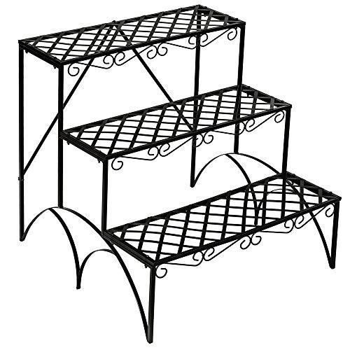 TecTake FIORIERA PORTAVASI Giardino A 3 Piani in Ferro Decorativa ca. 60x60x60cm - Portata Massima: ca. 30 kg - Modelli Differenti (Scala Dritta | No. 401711)