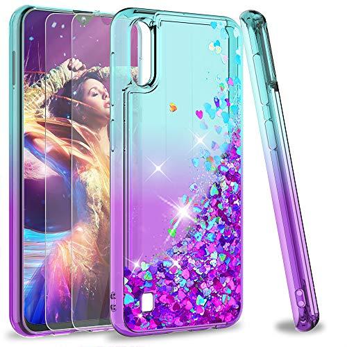 LeYi für Samsung Galaxy A10/M10 Hülle Glitzer Handyhülle mit Panzerglas Schutzfolie(2 Stück),Cover Schutzhülle für Hülle Handy Hüllen Türkis Lila