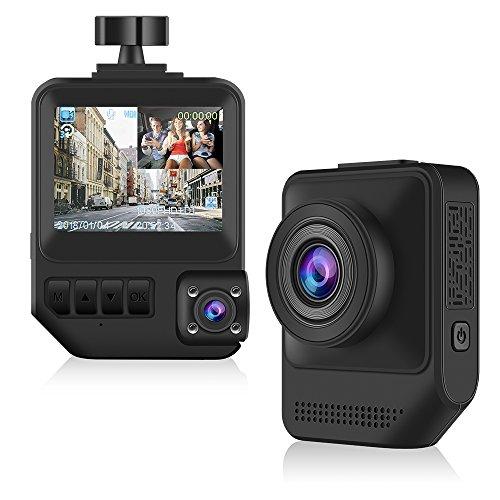 Caméra de Voiture, Modohe Dash Cam Embarquée 2 Lentilles L'enregistreur de conduite FULL HD 1080P DVR 170°Grand Angle, DASHCAM Enregistreur, Capteur-G, Enregistrement en Boucle, Détection de Mouvement