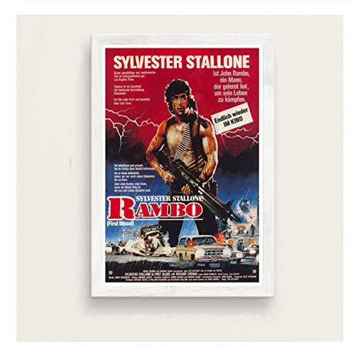 chuangyue First Blood Classic Filmserie Sylvester Stallone Rambo Kunst Malerei Seide Leinwand Poster Wand Wohnkultur50X70 cm Kein Rahmen