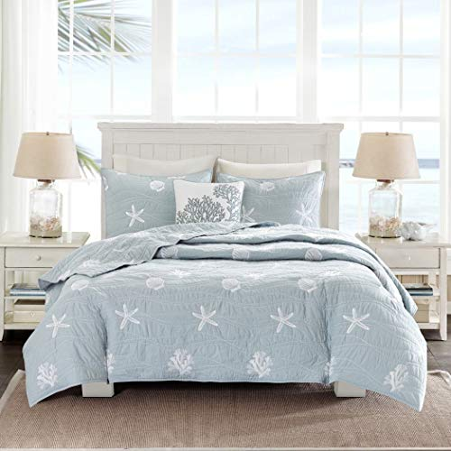 4 Piece Chic Grey Blue White Full Queen Coverlet Set, Beach Themed Bedding Seashell Starfish Stylish Trendy Modern Pretty Nautical Beach Seaside Coastal Cute Coral, Cotton