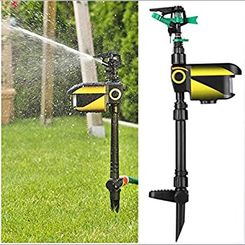 WUBAILI Garden Guard Water Repellent Animal Repellent, with Motion Sensor and Solar Battery for The Expulsion of Cats, Dogs, Herons, Hares, and Foxes and Deer,Jaune
