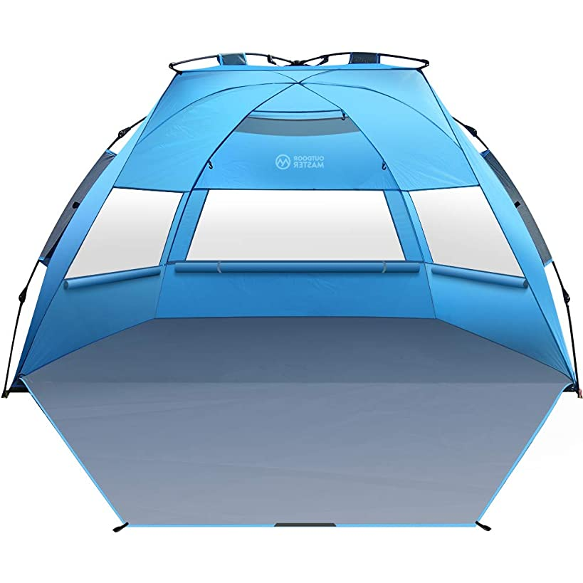 OutdoorMaster Pop Up Beach Tent XL - Easy Setup, Portable 3-4 Person Tall Beach Shade Folding Sun Shelter with UPF 50+ UV Protection Removable Skylight Family Size