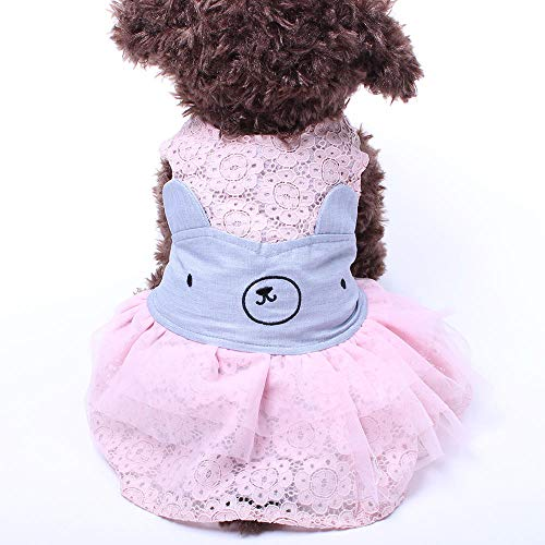 Ropa para Perros Vestido De Oso De Encaje para Mascotas Primavera Y Verano Vestido De Princesa para Perros Pequeños De Peluche-Pink_M