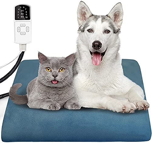 Almohadilla de calefacción para mascotas para gatos y perros con 10 temperaturas ajustables y 4 temporizadores ajustables para gatos, manta eléctrica resistente a la masticación, colchón de 45 x 45 cm