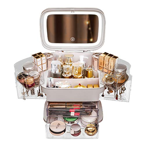 MIUOPUR Makeup Organizer with Mirror and Light, Cosmetic and Skincare Storage Box, Jewelry Display Stand, with 2 Drawers and Rotating Trays, Large Capacit and Dust Water Proof - White.