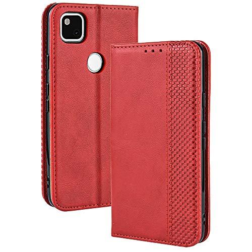 TANYO Leder Folio Hülle für Google Pixel 4A 4G (Not for 5G Version), Premium Flip Wallet Tasche mit Kartensteckplätzen, PU/TPU Lederhülle Handyhülle Schutzhülle - Rot