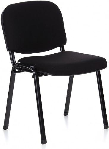 hjh OFFICE 704000 chaise de conférence, chaise visiteur à 4 pieds XT 600 SW noir, siège invité classique sans accoudo...