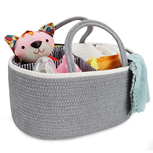 X-Large Diaper Basket Caddy Organizer, ABenkle Cotton Rope Diaper Storage Basket, Portable Baby Diaper Basket for Boy/Girl's Nursery Diaper Organizer for Changing Table - for Baby Shower