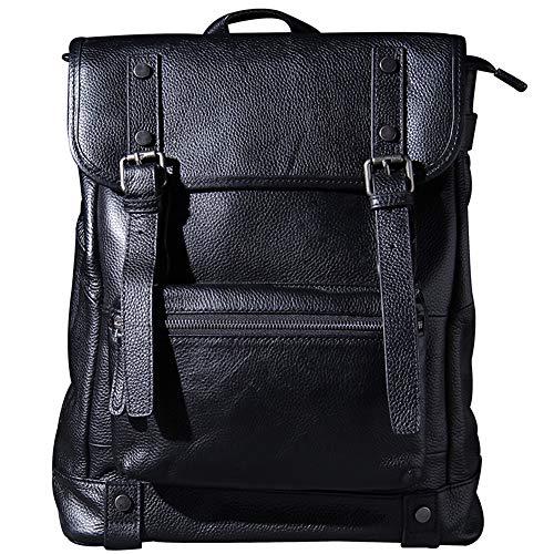 Leather Wallet Men's Leather Backpack Vintage 15 Inch Laptop Bag Large Capacity Weekender Daypack Backpack - Black -