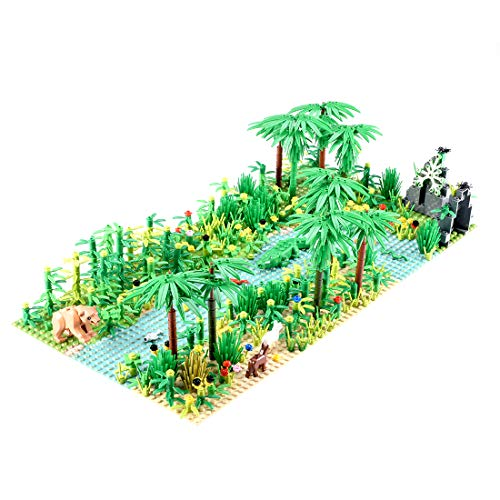 LOSGO Tropischer Regenwald Botanische Landschaft mit Bauplatten für Lego Baumhaus, Baumhausabenteuer, Bausteinspielzeug Kompatibel mit Lego Bauer