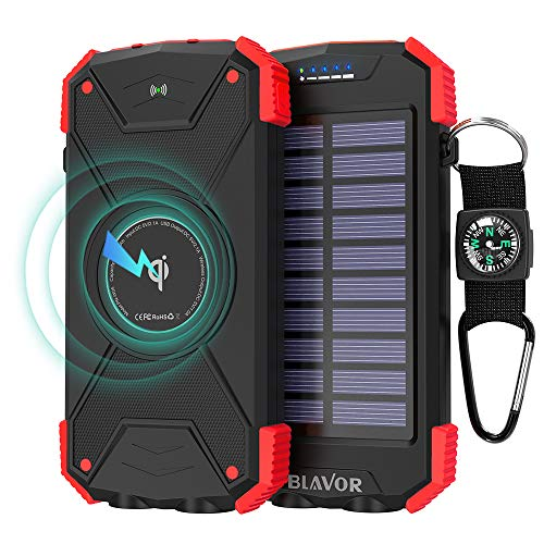 Solar Charger 10000mAh, Portable Solar Power Bank IPX4 Outdoor Travel Qi Wireless Solar Panel Emergency Charging External Battery Pack with 2.1A USB Output/Type-C Input/Compass/Dual Flashlight