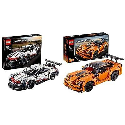 LEGO Technic 42096 Porsche 911 RSR Race Car Advanced Building Set, Exclusive Collectible Model & 42093 Technic Chevrolet Corvette ZR1 Race Car, 2 in 1 Hot Rod Toy Car Model, Racing Vehicles Collection