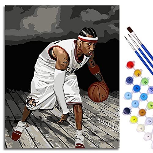 BOVIENCHE Kits de Pintura por números DIY Kit de Pintura acrílica Iverson Lienzo de Lino Acrílico 50x40cm Estrella de Baloncesto enmarcada