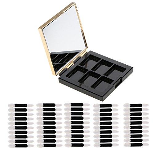 Toygogo Cosmétique ABS Vide Palette Box DIY Fard À Paupières Poudre Blush Concealer Maquillage Mirror Case + 50pcs Double Fined Ombres À Paupières Applicateur
