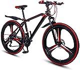 RDJM Bici electrica MTB plegable bicicletas for adultos, MTB de doble freno de disco de aluminio de aleación de bicicletas de montaña, 26 pulgadas de doble velocidad 27 con amortiguador de freno de di