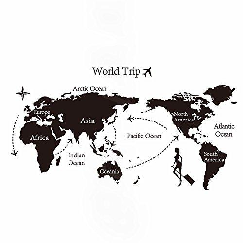 ロキリフ ウォールステッカー ( 世界地図 旅行 )( 仕上 140 x 80 )( シール アルファベット モノクロタイポグラフィ インテリア ステッカー 壁紙 リビング 窓 冷蔵庫 ポスター ステッカー 壁シール 黒 )